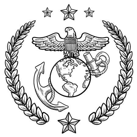 marinha: Estilo Doodle ins�gnias militares para os EUA Marine Corps, incluindo globo e �ncora e grinalda