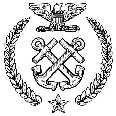 Doodle style military insignia for the US Navy including crossed anchors and wreath  Vector
