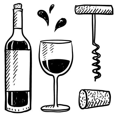 Vinos de estilo Doodle establece la ilustración en formato vectorial que incluye una botella de vidrio, sacacorchos, y el corcho