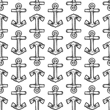 oceanography: Doodle senza soluzione di continuit� in stile marittimo barca illustrazione sfondo ancora in formato vettoriale