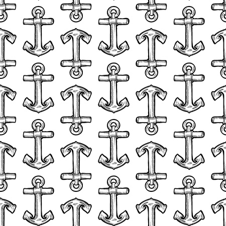 mariner: Doodle style seamless maritime boat anchor background illustration in vector format  Illustration