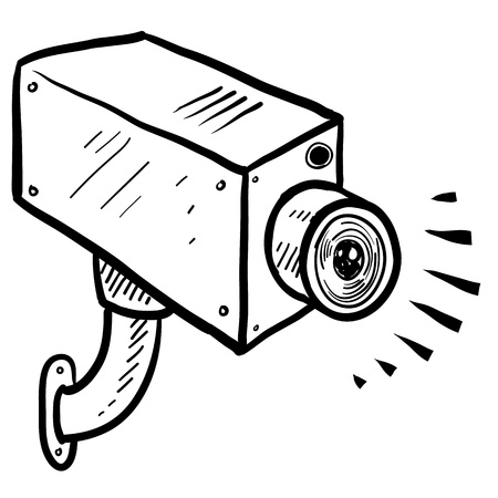 Doodle style security or surveillance camera in vector format  Stock Illustratie