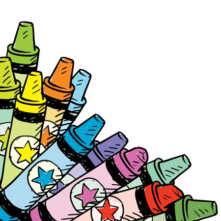 craft supplies: Doodle style colorful crayon corner tab in vector format