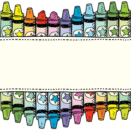 arts and crafts: Doodle style colorful crayon seamless border in vector format  Illustration