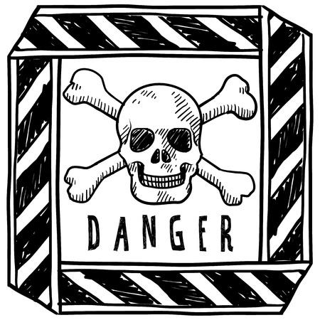 drapeau pirate: Danger de style Doodle ou illustration signe d'avertissement en format vectoriel Illustration