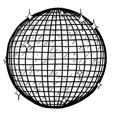 retro disco: Doodle de estilo retro bola de discoteca en formato vectorial