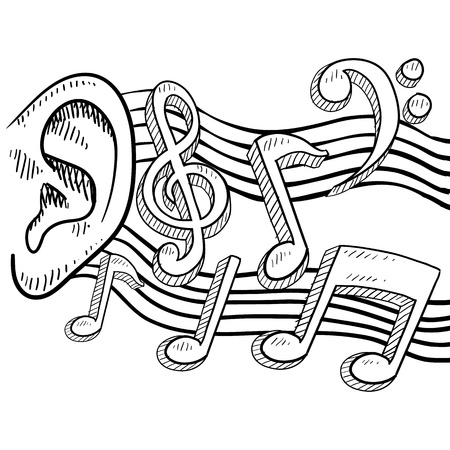 Doodle style ear with music notes illustration in vector format