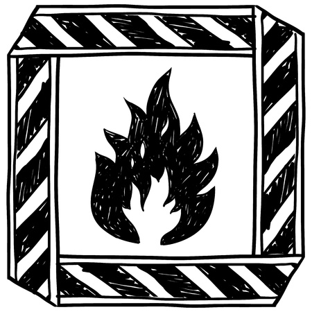 flammable warning: Doodle style flammable warning illustration in vector format