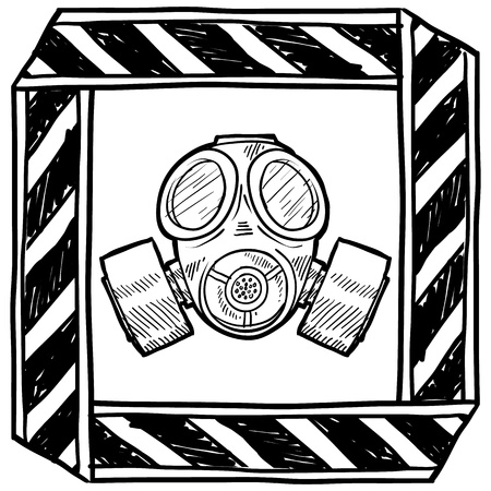 army gas mask: Estilo Doodle m�scara de gas o la ilustraci�n de guerra qu�mica de advertencia en formato vectorial