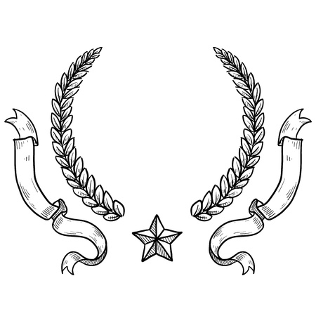 lapel: Doodle style military insignia crest with wreath, ribbon, and star in vector format