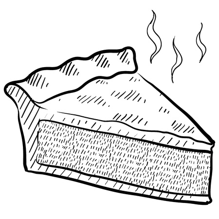 cobbler: Doodle style slice of pie illustration in vector format