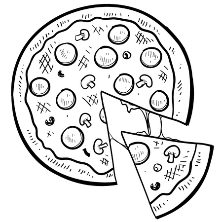 dine: Doodle style pizza with a slice cut out of it in vector format