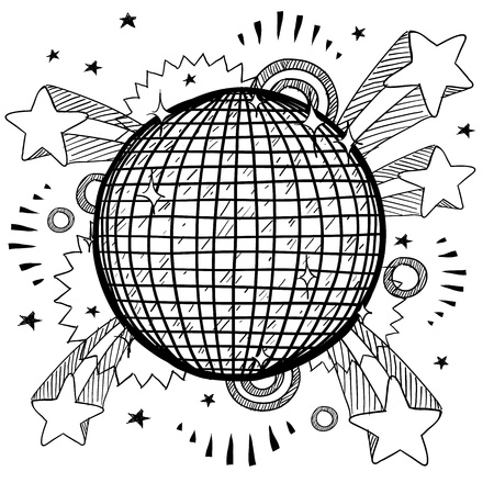 Doodle disco ball stile retrò 1970 su sfondo esplosione pop