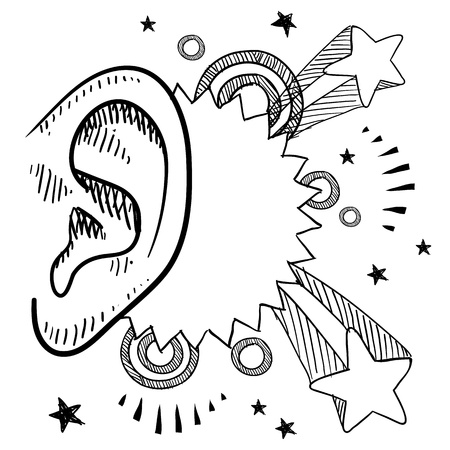 auditory: Doodle style music meets the ear with pop explosion illustration in vector format