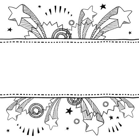 Doodle style pop explosion border or label illustration in vector format  Çizim
