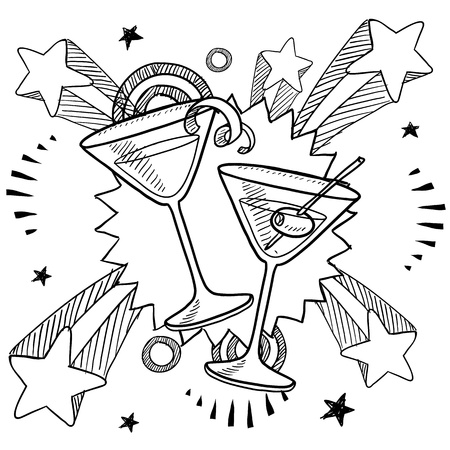 cocktail mixer: Doodle style martini glasses on 1970s pop explosion background illustration in vector format