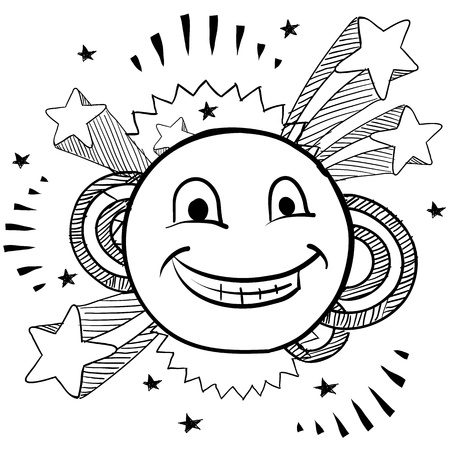 Doodle style smiley face on pop 1970s explosion background illustration in vector format