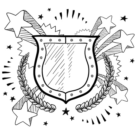 Doodle style secure shield on 1960s or 1970s pop explosion background in vector format  Иллюстрация