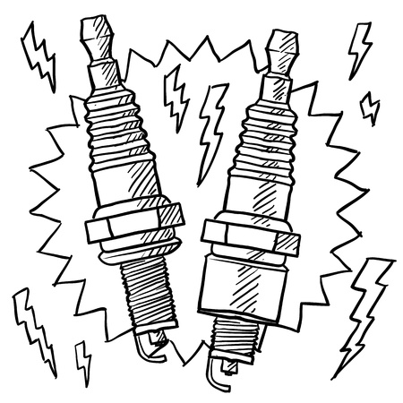 Doodle style automotive spark plug illustration in vector format