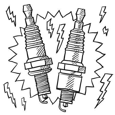 nascar: Doodle style automotive spark plug illustration in vector format