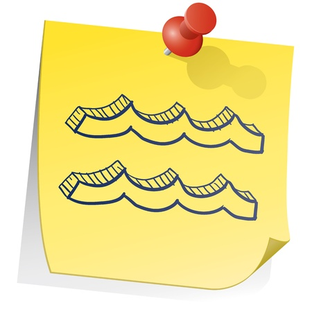 sticky note: Doodle style zodiac astrology symbol on sticky note background - Aquarius  Illustration