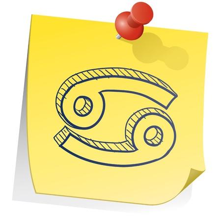 Doodle style zodiac astrology symbol on sticky note background - Cancer  Stock Vector - 14494746