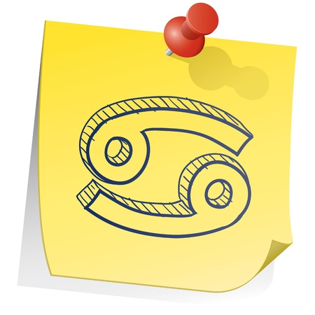 spirit new age: Doodle style zodiac astrology symbol on sticky note background - Cancer