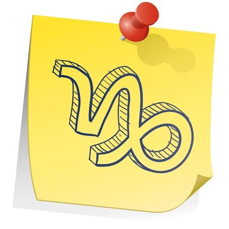 Doodle style zodiac astrology symbol on sticky note background - Capricorn  Stock Vector - 14494755