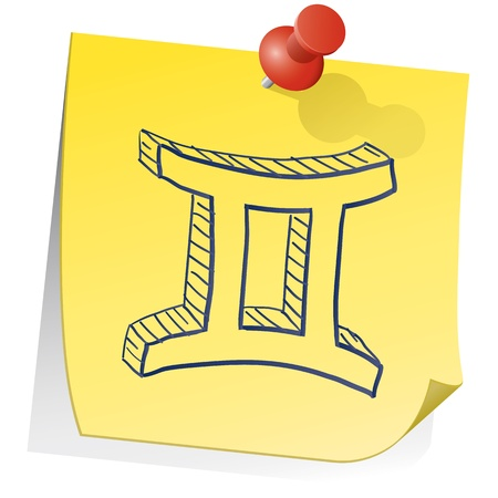 Doodle style zodiac astrology symbol on sticky note background - Gemini  Stock Vector - 14494763