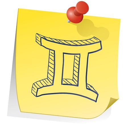 sticky note: Doodle style zodiac astrology symbol on sticky note background - Gemini