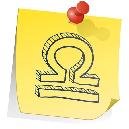 sticky note: Doodle style zodiac astrology symbol on sticky note background - Libra  Illustration