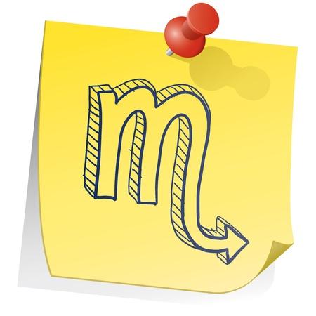 sticky note: Doodle style zodiac astrology symbol on sticky note background - Scorpio