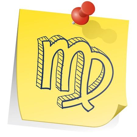Doodle style zodiac astrology symbol on sticky note background - Virgo Stock Vector - 14494779