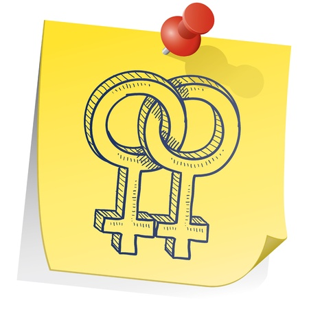 Doodle style gender symbols - female homosexual or lesbian relationship - on yellow sticky note background  Stock Photo - 14494740
