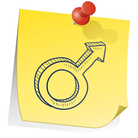 Doodle style gender symbol - male - on yellow sticky note background Stock Vector - 14494737