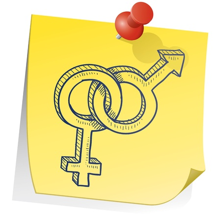 Doodle style gender - heterosexual relationship - symbols on yellow sticky note background  Stock Photo - 14485518