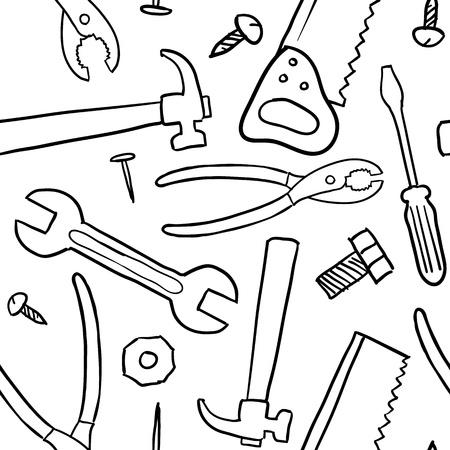 낙서 스타일의 기계공, 목수 또는 핸디 도구 배경 - 원활한 및 벡터 형식으로 바둑판 식으로 배열 할 준비가 일러스트