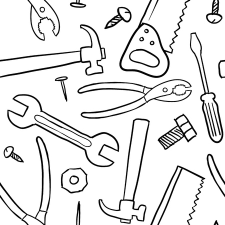 Doodle style mechanic, carpenter or handyman tool background - seamless and ready to be tiled in vector format   Stock Illustratie