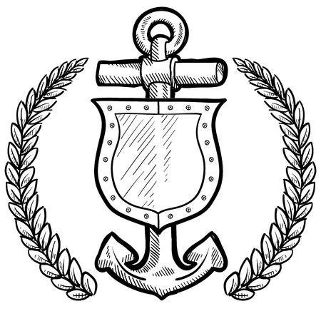 coast guard: Escudo de estilo Doodle seguro o la seguridad mar�tima y el ancla con corona en formato vectorial