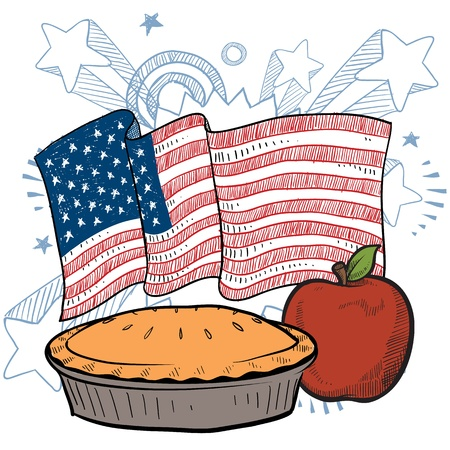 Doodle style colorful apple pie with American flag sketch in vector format