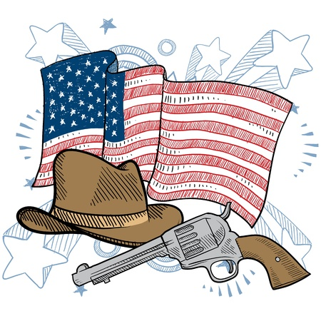 lawman: Doodle style colorful American cowboy or Wild West objects in front of an American flag background
