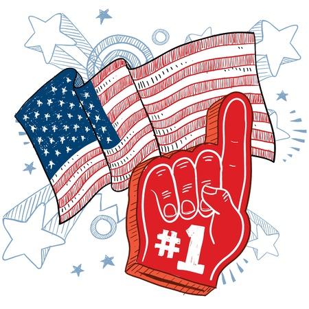 Doodle stijl kleurrijke schuim vinger die 1 zegt in de voorkant van een patriottische Amerika vlag achtergrond