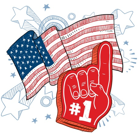 foam hand: Doodle style colorful foam finger that says  1 in front of a patriotic America flag background