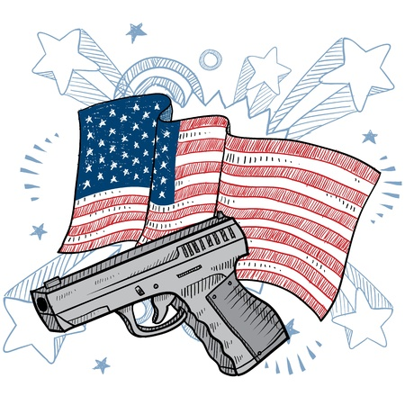 american flag background: Doodle style Second Amendment handgun or pistol color illustration on a patriotic American flag background  American love for guns