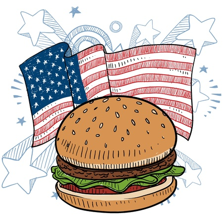 Doodle style hamburger and condiments color sketch in vector format