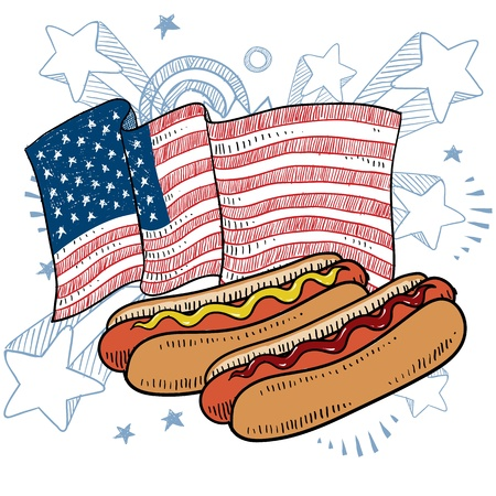 bratwurst: Doodle style hot dog with bun and condiments color sketch in vector format  Illustration