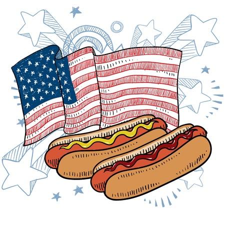condimentos: Perro caliente con estilo Doodle bollo y condimentos boceto a color en formato vectorial