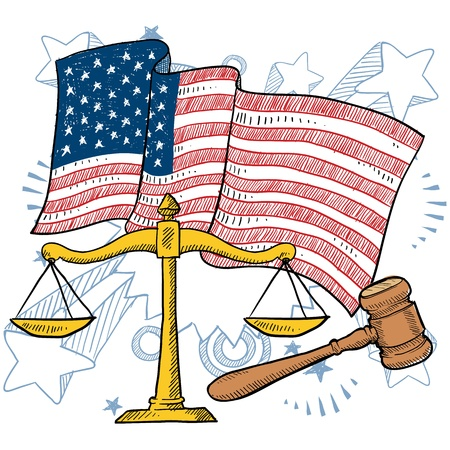scroll of the law: Doodle style courtroom objects including gavel and scales of justice in front of a colorful patriotic American flag background  Illustration