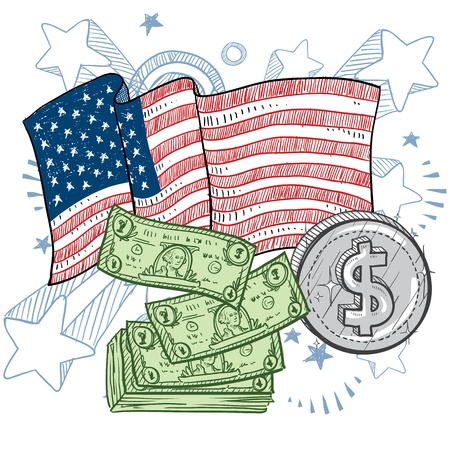Doodle style coins and dollar bills with American flag color sketch in vector format Stock Vector - 14511792