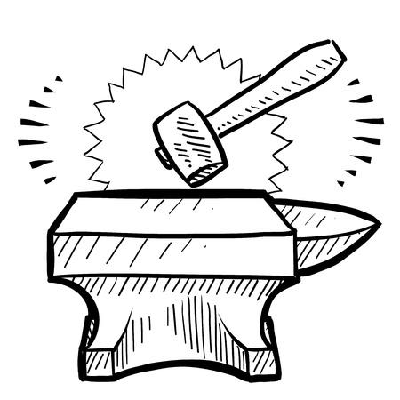 smithy: Doodle stile martello e incudine disegno in formato vettoriale